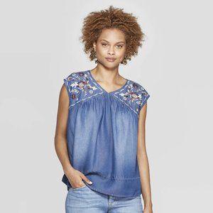 Knox Rose Embroidered Chambray Top Boho Floral XL